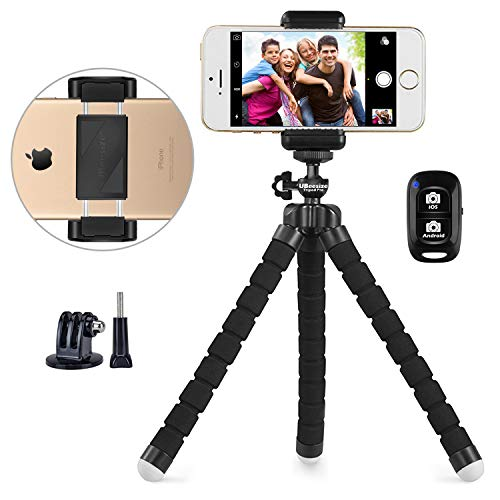 Phone tripod, UBeesize Portable and Adjustable Camera Stand Holder with Wireless Remote and Universal Clip, Compatible with iPhone, Android Phone, Sports Camera GoPro2018 NEW VERSION