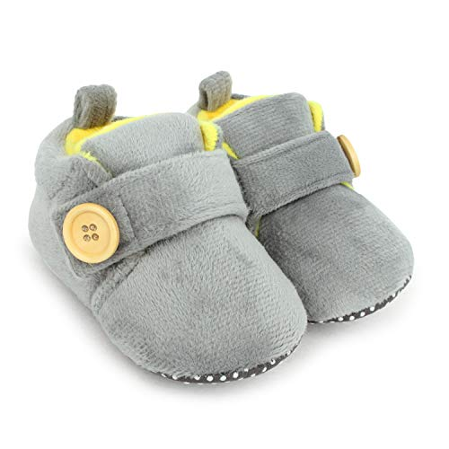 Superminis Baby Girls And Baby Boys Dual Color Velvet Soft Base Booties/Shoes With Wooden Button...