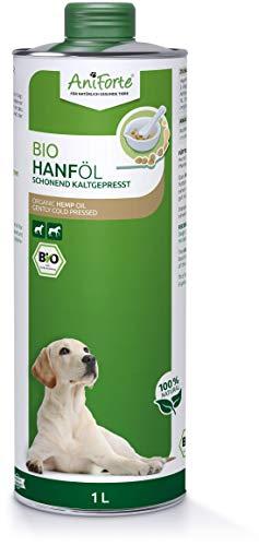 AniForte aceite de cáñamo orgánico prensado en frío para perros y caballos 1 litro - 100% de aceite de cáñamo puro como aditivo, aceite de cáñamo de primera calidad, embalaje reciclable sin BPA