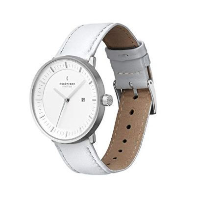 Nordgreen Philosopher Scandinavian Silver Men's Watch Analog 36mm Watch with White Leather Strap 10040