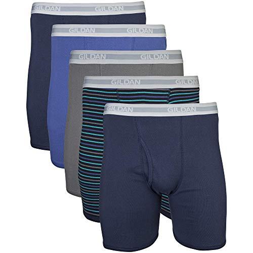 Gildan Men's Regular Leg Boxer Brief 5 Pack, Large, Mixed Navy