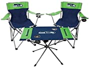 TOP SEATTLE SEAHAWKS TEAM 3 PIECE TAILGATE KIT FOR FANS STARTING TO BUILD OUT YOUR FOOTBALL TAILGATE COLLECTION 2 RAWLINGS GAMEDAY ELITE CHAIRS that are easy to transport with built-in velcro strap or in branded carry bag COMPACT, COLLAPSABLE CHAIRS ...