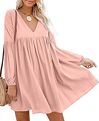 ❤Material: It's made of breathable and Super soft quality fabric ,Loose comfy fit great to Wear. ❤Feature: Cute babydoll style dress ,Long sleeve,Sexy V-Neck, A line, loose fit and pleated detail along bust.Flattering loose fitting style is so much F...