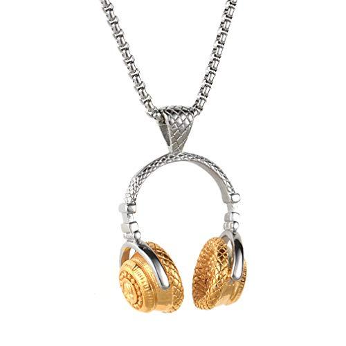 OAKKY, ciondolo per collana da uomo, in acciaio inox, a forma di cuffie da DJ, stile punk rock, con catenina da 55,1cm, Acciaio inossidabile, colore: Silver Gold, With Chian, cod. 41PCZ0129-42