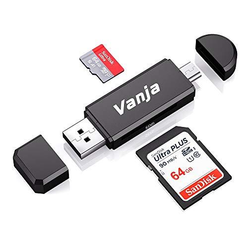 Vanja Lector Tarjeta de Memoria SD/Micro SD, Adaptador Micro USB OTG y Lector de Tarjetas USB 2.0 para Computadora/Laptop/Tableta y Teléfono Inteligente con Función OTG