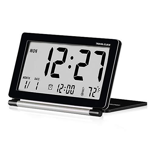 Reveil de Voyage Pliable, Horloge Digital Silencieux Petit Réveil (Noir)...