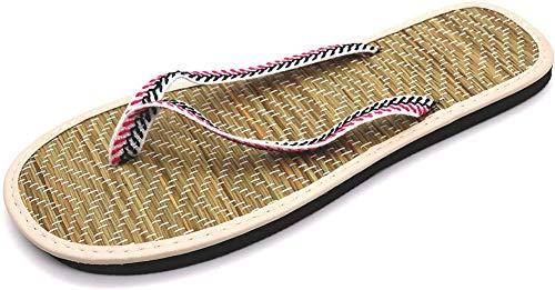 Zapatillas de Hotel, Sandalias de Zapatos de Playa con Punta Abierta, Chanclas de Lino de Paja de Moda, Zapatillas de casa de Interior, Zapatillas de Verano Antideslizantes para Damas, Tejido Estampa