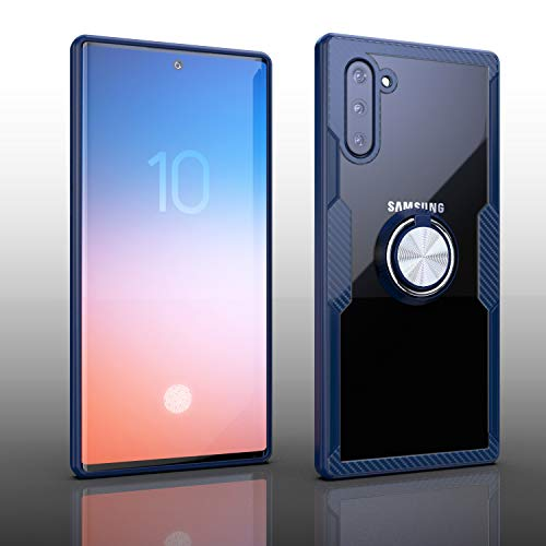Samsung Galaxy Note 10 Case | Transparent Crystal Clear Cover | Carbon Fiber Trim & Rubber Bumper | 360° Rotating Magnetic Finger Ring | Kickstand | Compatible with Samsung Galaxy Note 10 - Blue