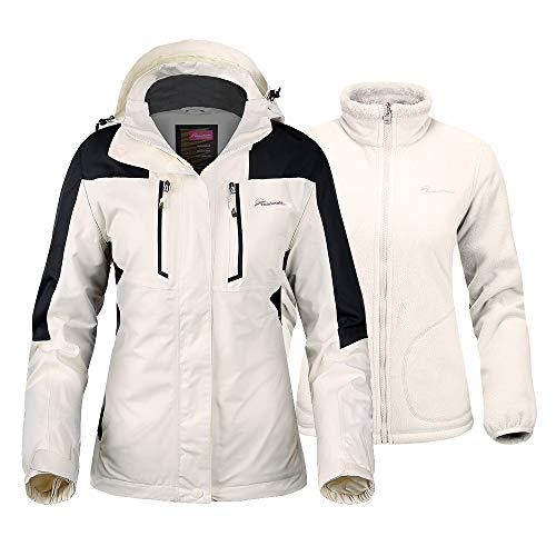 OutdoorMaster Women's 3-in-1 Ski Jacket - Winter Jacket Set with Fleece Liner Jacket & Hooded Waterproof Shell - for Women (Off White,L)