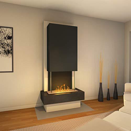 Muenkel Design Milano [Modern Design Ethanol Fireplace Premiu Negro (Slate Black) Black Line Burner 500 - Hood Pure White