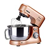 Inalsa Stand Mixer Kratos-1000W with 5L SS Bowl| Includes Whisking Cone, Mixing Beater & Dough Hook, (Champagne)
