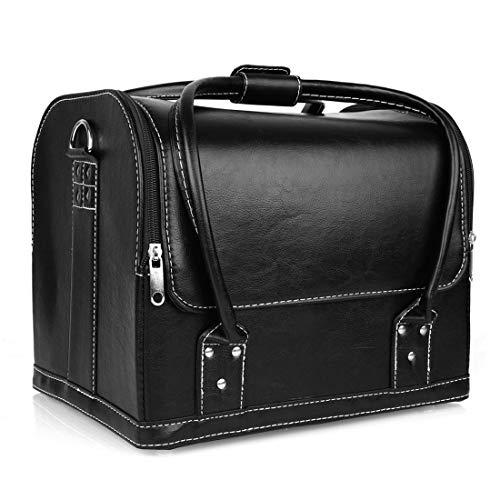 Kosmetikkoffer - Amzdeal Schminkkoffer, Beauty Case Koffer Classic Schminkkoffer mit Schultergurt, Kosmetikkoffer entfernbarer - 2 verfügbare Ebene 30-62cm, aus PVC-Leder, 30 x 25 x 23,5cm (aus PU)