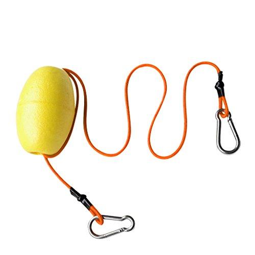 MagiDeal Kajak Kanu Boots Festmacherboje Verankerungsboje mit Expanderseil und Doppel Karabinerhaken - Gelb + Fluoreszierendes Gelb