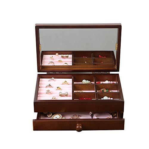 Vetrina per esposizione di gioielli Semplice scatola di immagazzinaggio dei monili della lana di 2 strati per gli anelli degli orecchini della collana degli orologi immagazzina - il regalo dell'annata
