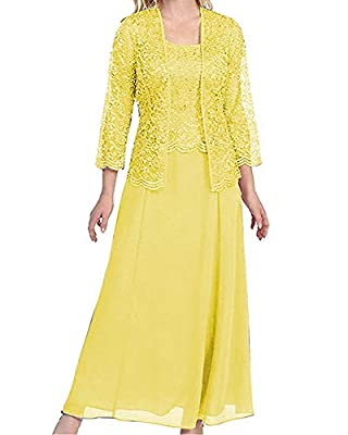☀Features: long mother of the bride dresses and groom dress with 3/4 sleeve jacket, a-line formal evening dresses for women party gowns with lace. You will receive many compliments on this elegant dress! ☀Size selection: Please refer to our size char...