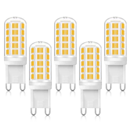 G9 Lampadine LED, 5 Pezzi 5W Lampadina G9, Equivalente 40W Lampada Alogena, 400Lm 3000K 220-240V Luce Calda Lampade G9, Angolo a fascio 360 Non Dimmerabile