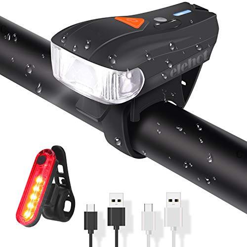 ELEHOT Fahrradbeleuchtung Set USB Automatische Lichteinstellung IPX6 Wasserdicht Fahrradlichte Set mit 5 Leuchtmodi Fahrradlampe Set inkl Wiederaufladbare 450 Lm 150m/820ft