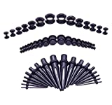 HuayoRong 50Pcs Ear Stretching Kit Acrylic Tapers Plugs and Silicone Tunnels 14G-00G Gauges Expander Set Piercing Jewelry (Black)