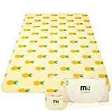 MIU COLOR Large Waterproof Outdoor Picnic Blanket, Sandproof and Waterproof Picnic Blanket Tote for Camping Hiking Travelling (80'x 60' A Pineapple)