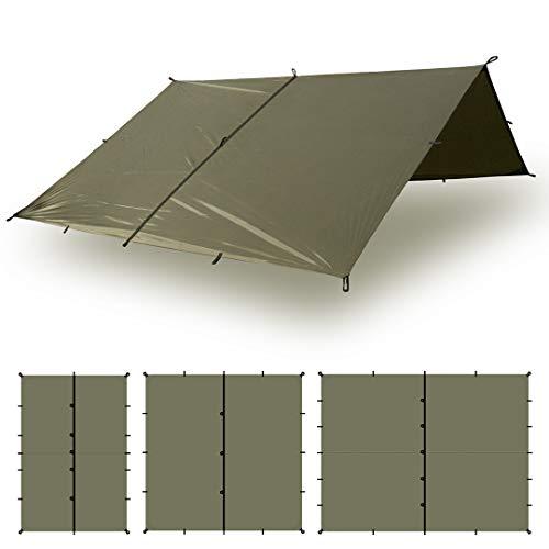 Aqua Quest Defender Tarp Kit - 100% wasserdichtes Heavy Duty Nylon Bushcraft Überleben Obdach mit Zubehör - 3x2 m Woodland Kit