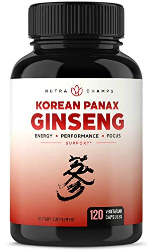 NutraChamps Korean Red Panax Ginseng 1000mg - 120 Vegan...