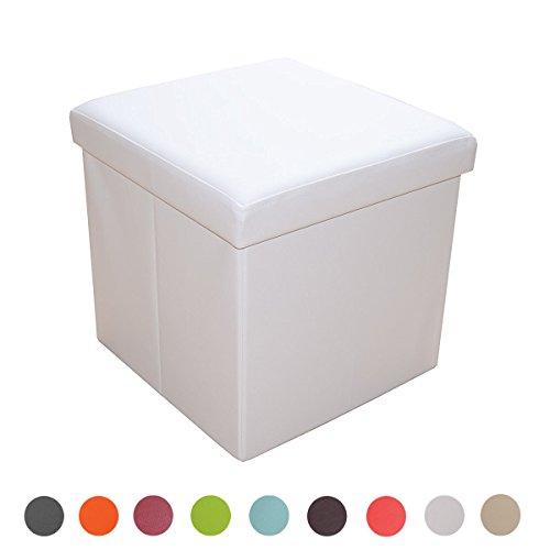 Style home Sitzbank Sitzhocker Aufbewahrungsbox mit Stauraum faltbar belastbar bis 300 kg Kunstleder 38 x 38 x 38 cm … (Weiß)