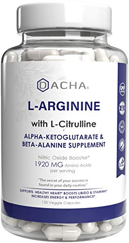 DACHA Premium L Arginine Pills - 1920 MG AAKG Nitric Oxide Precursor, L-Citrulline HCL, Testosterone Booster, Essential Amino Acids for Energy, Muscle Growth, Heart Health, Vascularity & Stamina.