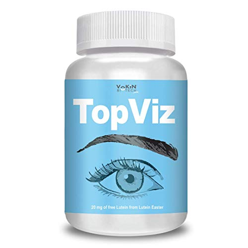 Vokin Biotech TopViz   Natural Eye Care Supplement & Vision Support   Combination of Lutein, Vitamin A, Vitamin E, Vitamin B2, Zinc & Copper - 60 Vegetarian Tablets