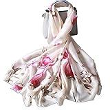 LumiSyne Bufandas De Seda Para Mujer Estampado Floral Estilo Moda y Elegante Estolas Largo y Suave...