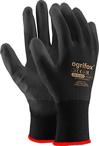 Ogrifox Guanti da lavoro in nylon rivestito in poliuretano nero, per giardinaggio, edilizia,...