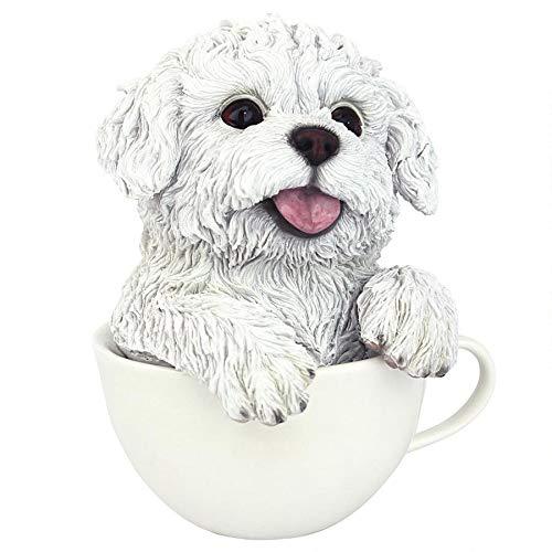 Design Toscano Puppuccino Puppy Collectible White Maltese Dog Statue, 5.5 Inch, Full Color