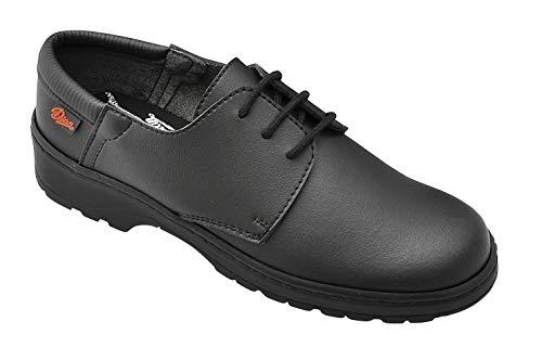 Dian Niza Zapato con Cierre de Cordones, Antideslizante de Gran Coeficiente en Seco y Húmedo, SRC+O1+FO, Negro, Talla 38