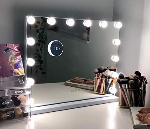 Hansong Vanity Makeup Mirror with Lights,Hollywood Lighted Mirror with 14 pcs Dimmable Led Bulbs for Dressing Room & Tabletop Mirror or Wall Mounted,Detachable 10X Magnification Spot Mirror