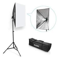 ESDDI Softbox Foco Fotografia Kit Iluminacion Fotografia con Luz Continua Fotografia 50x70, Tripode Movil, Bombilla 85W para Estudio Fotografico