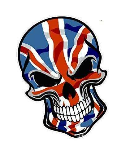 Motero Gótico Calavera Diseño con Bandera Británica Union Jack Impreso Vinilo Coche Moto Pegatina 110x75mm por Ctd