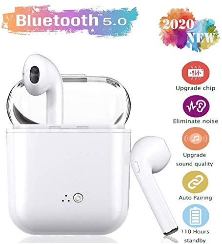 Wireless Earbuds Headsets, Bluetooth 5.0 Headphones, 24Hrs Charging Case 3D Stereo IPX5 Waterproof Pop-ups Auto Pairing Fast Charging for iPhone/Android/Samsung/Apple/Airpods Pro