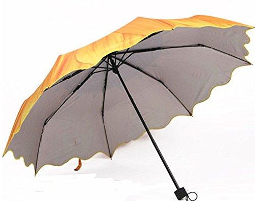 JuShen Sonnenblumen-Regenschirm, dreifach faltbar, UV-Schutz, Sonnenschirm, Gelb