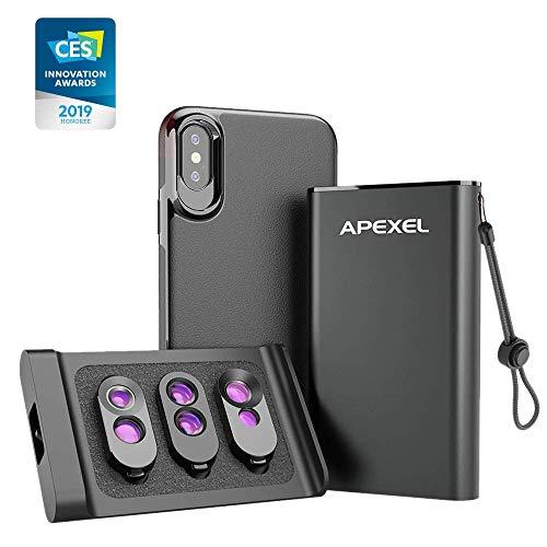 Apexel - Kit 3 in 1 con doppia fotocamera per iPhone X/X(solo) + set di lenti esterne aggiuntive, doppio obiettivo macro, teleobiettivo e fisheye + teleobiettivo e grandangolo