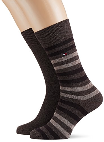 Tommy Hilfiger TH Men Duo Stripe Sock 2P Calze, Braun (Oak 778), 43-45 (Pacco da 2) Uomo