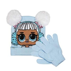 L.O.L. Surprise! Light Blue Jacquard Knit Pom Pom Beanie Hat & Magic Glove Set 2 Pieces Winter Accessories Set for Girls