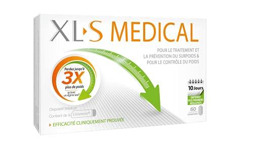 XL-S MEDICAL – Une aide à la perte de poids efficace (1) - Capte les graisses - Aide à perdre jusqu'à 3 x plus de poids qu'avec un régime seul (1) - Boîte de 60 Comprimés pour 10 jours