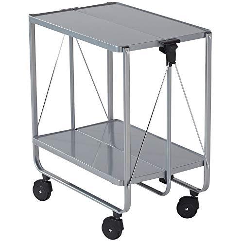Leifheit Side-Car, im platzsparenden Design, schnell auf- und abbaubarer Küchenwagen mit Rollen, klappbarer Servierwagen mit 2 Ebenen, silber