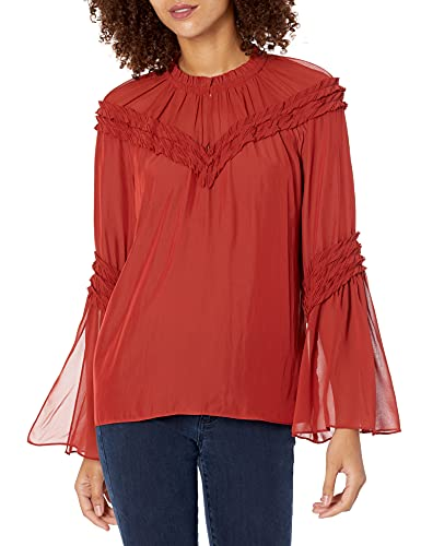 418SNDzItAS. SL500 Subtle ruffle detail on sleeves and neckline Neck can be worn open or closed