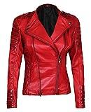 Decrum Red Womans Leather Jacket - Leather Moto Jacket Women | [1300407] Jannie, XXXL