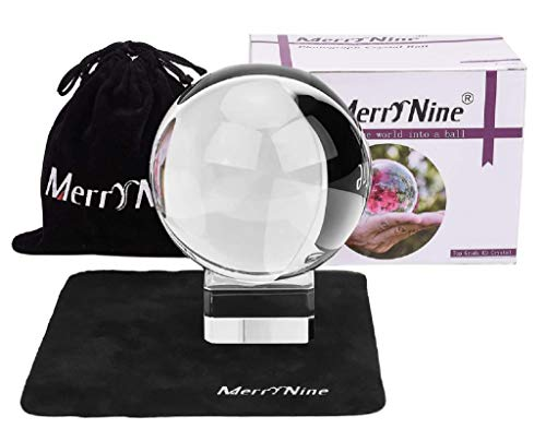 "Photograph Crystal Ball with Stand and Pouch, K9 Crystal Suncatchers Ball with Microfiber Pouch, Decorative and Photography Accessory (80mm/3.15"", Clear)"
