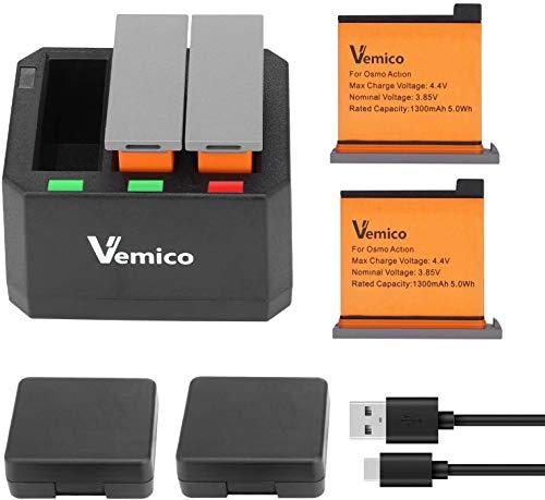 Vemico OSMO Action Batteria 2X1300mAh Batterie di Ricambio and 3-Channel Caricatore USB LED di Tipo-C per DJI OSMO Action Camera