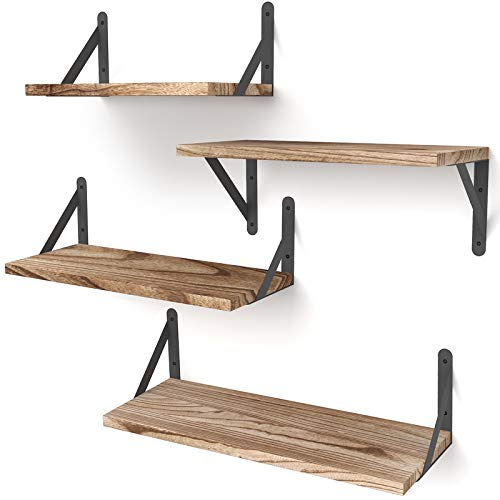 YGEOMER Floating Shelves, Set of 4, Carbonized Black, Multifunctional Wall-Mounted Shelves for Living Room,...