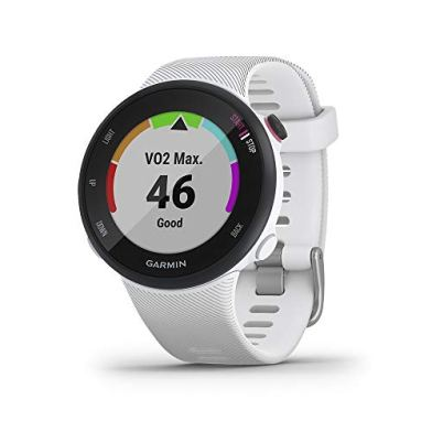 Garmin Forerunner 45S, 39mm Easy-to-use GPS Running Watch with Coach Free Training Plan Support, White