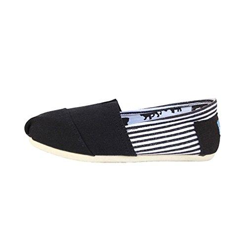 Dooxii Unisex Hombre Mujer Amantes Ocasionales Antideslizante Loafer Zapatos Moda Rayas Planos Alpargatas Negro 42(26cm)