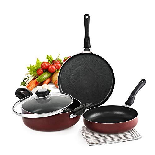 Cello Prima Induction Base Non-Stick Aluminium Pan Cookware Set, 3-Pieces, Cherry Red